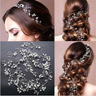 Vintage Wedding Bridal Pearl Headband Tiara Long Hair Chain Crystal Headpiece TR
