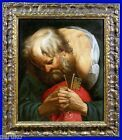 19thC OLD MASTERS O/C PAINTING SAINT PETER PRAYING FOR THE CHURCH w NICE FRAME