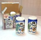 NEW Snowman Cobalt Blue Salt & Pepper Winterland Christmas Tabletops unltd