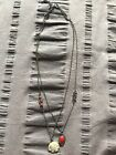 LUCKY BRAND SILVER TONE DOUBLE CHAIN FLOWER AND STONE PENDANT NECKLACE