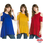 USA Womens Open Cold Shoulder Long Tunic Top Dress A Line Silhouette S M L XL