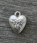 VINTAGE STERLING SILVER PUFFY HEART CHARM Repousse Flowers  Beaded Border