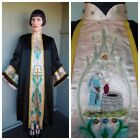 Antique Edwardian 1900s Black Satin Embroidered Bell Sleeve Odd Fellows Robe