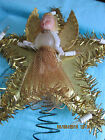 VINTAGE CHRISTMAS TREE TOPPER GOLD STAR WITH ANGEL CENTER BLINKING LIGHTS