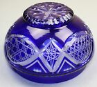Vintage Bohemian Czech Cobalt Blue Cut to Clear Glass Covered Candy Bowl Dish
