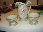 CHERI BLUM 222 FIFTH 5th Cheri's Rose PITCHER TWO SIDE CONDIMENT DISHES RELISH