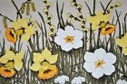 ENDLESS SPRING GARDEN OF EASTER DAFFODILS VTG GERMAN RETRO PRINT TABLECLOTH
