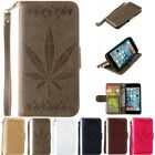Magnetic Wallet Card Lot Stand Flip PU Leather Cover 3D Leaf Embossing HCK Case