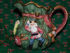 Vintage FF Fitz and Floyd 1995 2 1/4 Qt Kris Kringle Toy Bag Christmas Pitcher