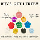 Custom Engraved PAW PRINT Pet Tag Dog Cat ID Name Animal Rescue 10 COLORS