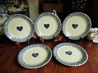5 USED FOLK CRAFT TIENSHAN HEARTS BLUE SPONGE DINNER PLATES 10 1/4