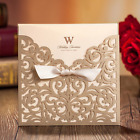 WISHMADE 50 Count Square Laser Cut Invitations Cards Kits Gold for Wedding Birth
