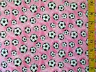 SOCCER BALLS ON PINK 100 COTTON FLANNEL FABRIC BY THE 1 2 YARD