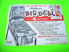 Williams BIG DEAL 1963 Original Flipper Game Pinball Machine Promo Flyer Rare