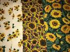 1 1 3+ Yds Sunflower Cotton Quilt Fabric 3 Different Prints Yellow Green White