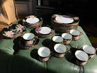 Fitz and Floyd Cloisonne Peony Black China, 29 pieces, made in Japan