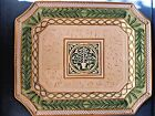 Fitz & Floyd GREGORIAN Collection Green & Gold LARGE PLATTER  Perfect in Box 16