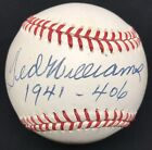 Ted Williams 1941-.406 Signed Baseball JSA LOA Boston Red Sox