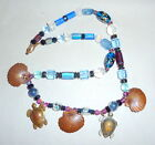 Artisan Necklace Sea Blue Glass Beads Copper Turtles  Shells Charms