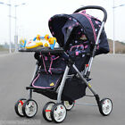 B09 Single Baby Dark Blue Fabric Collapsible Aluminum Alloy 6 Wheels Strollers