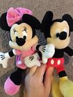 Disney Plush Mickey And Minnie Mouse Small