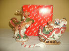 FITZ AND FLOYD KRIS KRINGLE PATTERN REINDEER CREAMER PITCHER AND SLEIGH SUGAR