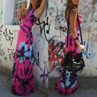 NEW Colorful Tie Dye Summer Beach Slim Long Maxi Dresses Tank Top Sundress BD203
