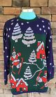 VTG Womens HOLIDAY TIME UGLY CHRISTMAS SWEATER METALLIC SKING SANTA GREEN BLUE