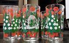6 NICE VINTAGE MERRY CHRISTMAS HAPPY NEW YEAR GLASS TUMBLERS, HAZELWARE !!!