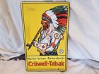 Vintage Cruwell smoking Tobacco Indian native american headress advertising sign