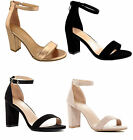 Women Chunky Block High Heel Adjustable Ankle Strap Open Peep Toe Sandals Shoes