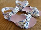 NEW size 6 Toddler Sandals White Flower Blue Peach Cloth NWT easy on