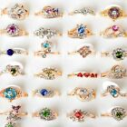 20/50pc Wholesale Jewelry Lots Crystal Rhinestone Gold Plated Rings Wedding Ring