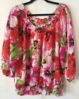 Cato Womens 22 24 2X 3X Blouse Floral Pink Red Green 3 4 Sleeves Elastic Neck