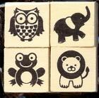 RECOLLECTIONS small rubber stamp set BABY ANIMALS INCHIES wood mounted Owl Frog
