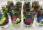 VINTAGE LOT OF 12 LIBBEY JUICE FRUIT STAIN GLASS  DRINKING GLASSES  5-1/2