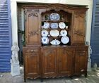 Antique French Hutch Buffet Server Sideboard Carved Oak Bookcase Shelf Scalloped
