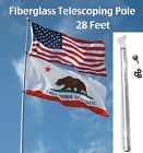 28 FT Telescoping Fiberglass Flag Pole w 2125 base rv desert nascar antenna