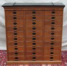 EXCEPTIONAL 30 DRAWER TIGER OAK AMBERG LETTER FILE CABINET WITH STONE TOP