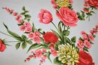 GARDEN PARADISE OF PINK  RED TULIPS  ROSES VTG GERMAN SPRING PRINT TABLECLOTH