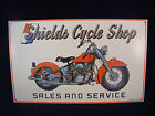 Vintage Tin Sign Shields Cycle Shop Sales and Service 10x16 NEW