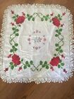 Vintage Embroidered Tablecloth Red Green Holiday Christmas Lace 32x34