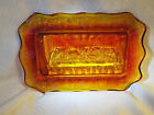 Vintage red yellow Amberina glass tray of Last Supper with grape leaf design 11