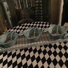 Fitz and Floyd Seaboard Fish Dip Bowls w Shell Spoons Tray Stripes NEW