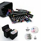 80 Color Markers Pen Touch New Graphic Art Sketch Twin Tip Case Organizer Bag