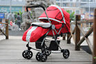 B06 Single Baby Red + White Fabric Collapsible Aluminum Alloy 6 Wheels Strollers
