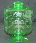 Antique Signed Hawkes Covered Jar Box Wheel Cut Green Uranium Vaseline Glass