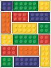 48 Building Block Stickers Party Decoration Supplies Birthday Fun Brick Design