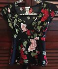 Asian Red Pink Rose Flower Floral Top Blouse