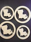 Louisiana State Shape Unfinished Wood Cut Out Laser Cut Crafts LOT of 4